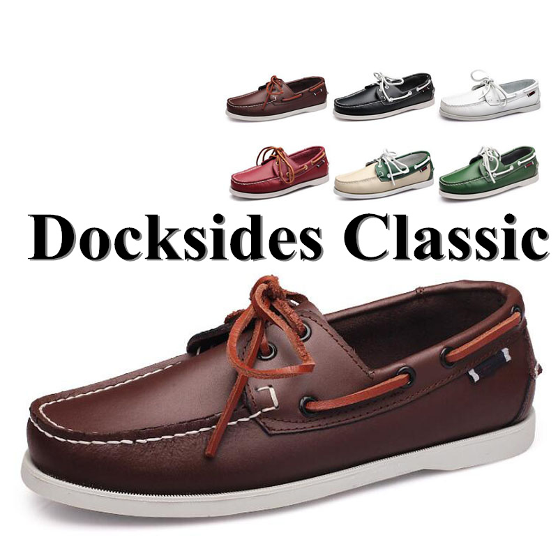 Men Genuine Leather Driving Shoes,New Fashion Docksides Classic Boat Shoe,Brand Design Flats Loafers For Men Women 2019A010