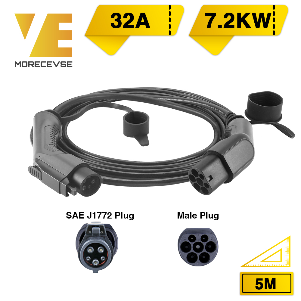 Morec EV Charging Cable 32A 7.2KW Electric Vehicle Cord For Car Charger Station Type 1 To  2, SAE J1772 5M