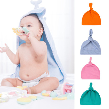 Baby Soft Knotted Hat Newborn Infant Cotton Caps Cotton Knot Beanies Toddler for 0-2 Years Old Boys Girls image