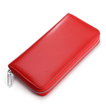 RFID Anti Theft Wallet Zipper Credit Card Genuine Leather Holder Men Women Luxury Retro Office Casual Organ Bags