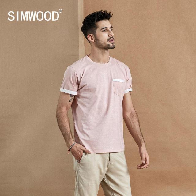 SIMWOOD Camiseta de verano con bolsillo en el pecho para hombre, camiseta de manga corta vintage Melange, camisetas de algodón 2020, novedad de verano de 100%