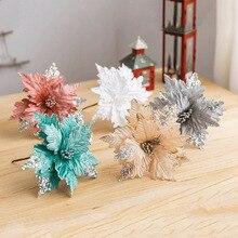 1 шт., искусственные цветы для украшения, блестящие пуансеттия, искусственные цветы, сделай сам, украшение для дома, свадьбы, Цветочная головка, Рождество