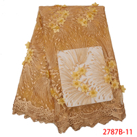 African White And Gold Lace Fabric Lace Fabric Stretch African Lace Fabric 2018 High Quality Lace 3d QF2787B 11