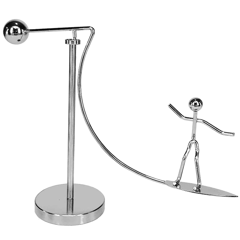 Table Toys, Finger Toys, Stainless Steel Finger Balance Toys, Newton Cradle Weights Mold Metal Craft Surfing Villain Art Swing D