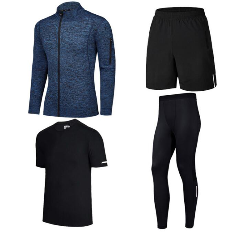 Men's Tight Sportswear Suits Running Sport Sets Jogging Outdoor Sports Clothing Training Pants Fitness Jacket Workout Shorts 4XL