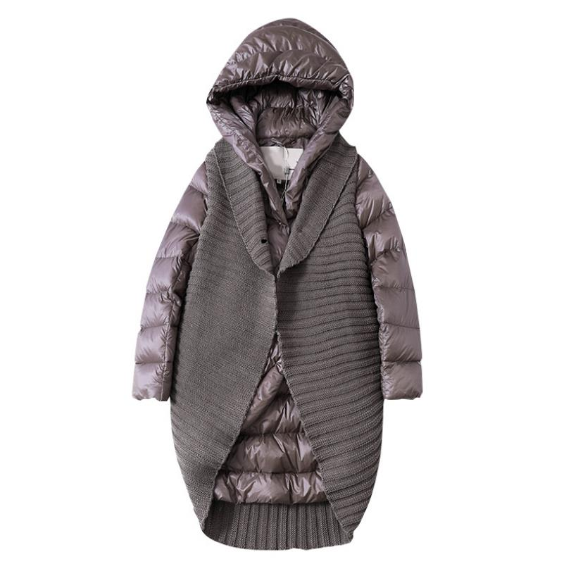 New Fashion Cashmere Knit Stitching Hooded Collar Thick Warm Down Jackets Female Winter Long Thicker Warm Duck Down Jackets F529