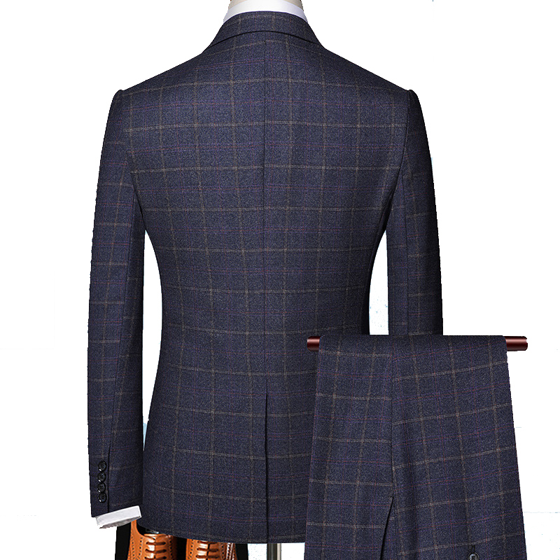 wedding : Shenrun Men 3 Pieces Suit Spring Autumn Plaid Slim Fit Business Formal Casual Check Suits Office Work Party Prom Wedding Groom