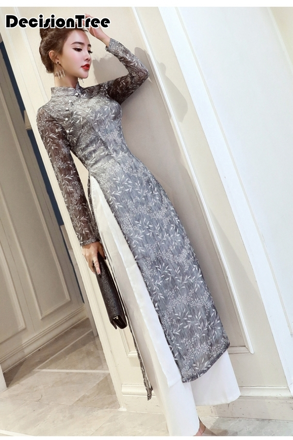 2020 Folk Style Vietnam Robes Chiffon Aodai Improved Dress Elegant Party Dress Traditional Embroidery Asian Dress Ao Dai