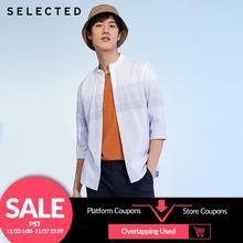 SELECTED 남성 100% 코튼 슬림 피트 스트 라이프 3/4 슬리브 화이트 셔츠 S