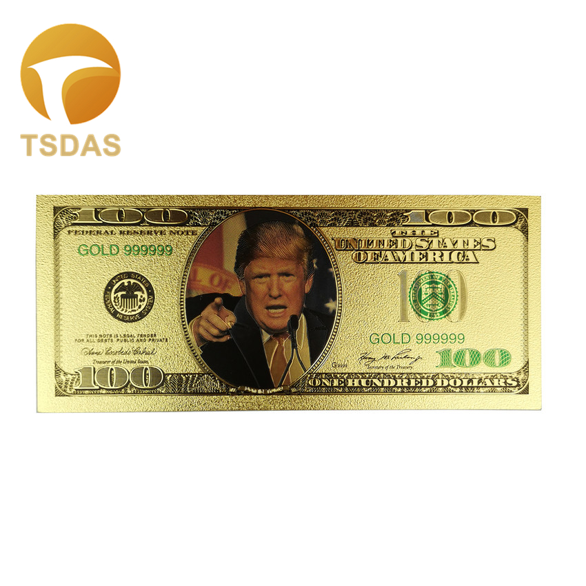 10Pcs/Lot Colorful USA Trump Banknotes <font><b>100</b></font> <font><b>Dollar</b></font> <font><b>Bills</b></font> Banknote In 24K Gold Plated Paper Money for Gifts image