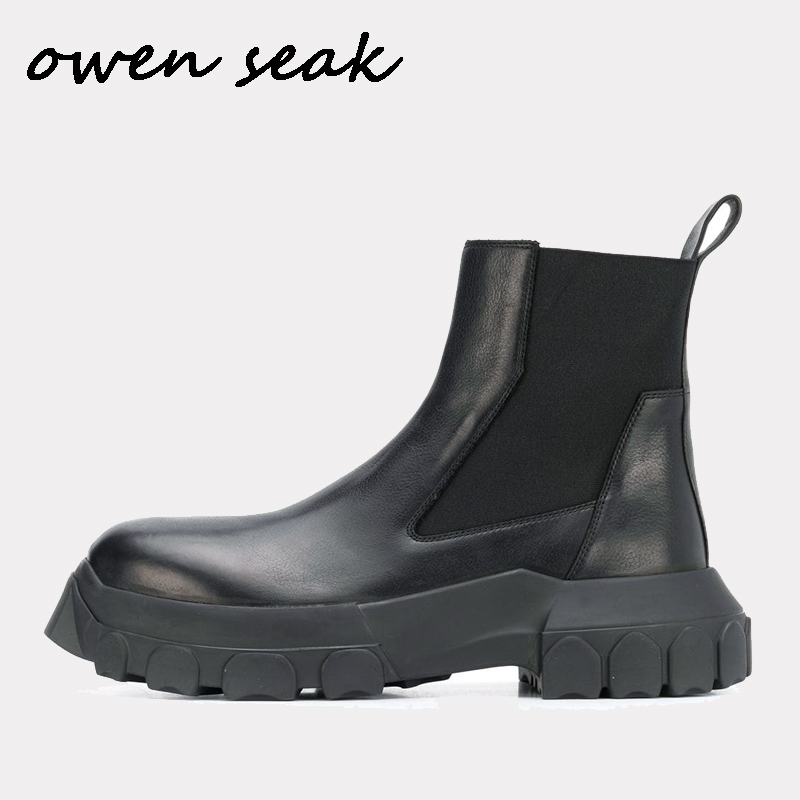 19ss Owen Seak Men Chelsea Boots Genuine Leather High-TOP Ankle Heightening Boots Luxury Trainers Boots Casual Flats Shoes