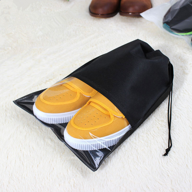 1PCS Women Men Waterproof  Shoes Bag Case PVC Travel Packing Drawstring Shoes Storage Bag Pouch Organizer Travel Accessories