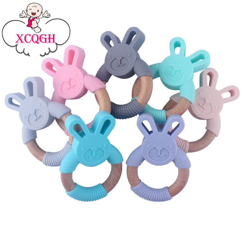 XCQGH Baby Silicone Rabbit Ears Teether Food Grade Silicone Molar Stick Baby Molar Wood Ring Teether
