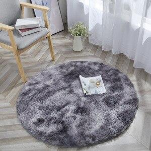 Image 1 - Tie Dye Ronde Tapijt Fotografie Props Home Decoratieve Fauteuil Mat Anti Slip Tapijt Grijs Kleurverloop Pluche Woonkamer tapijten