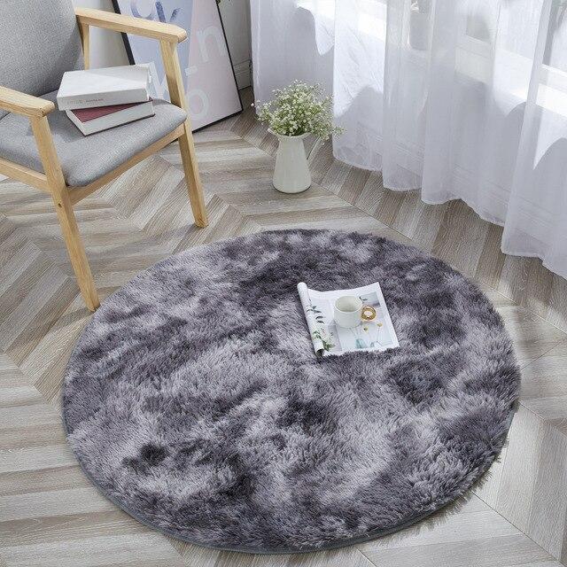 Tie Dye Ronde Tapijt Fotografie Props Home Decoratieve Fauteuil Mat Anti Slip Tapijt Grijs Kleurverloop Pluche Woonkamer tapijten