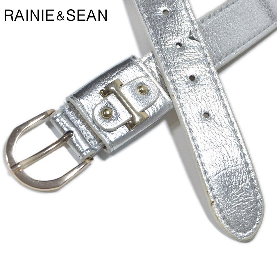RAINIE SEAN Woman Belt Punk Rock Women Leather Belt Sliver Cool Designer Belt Streetwear Hip Hop Ladies Jeans Belt with Metal