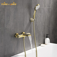 luxury gold brush bath shower thermostatic faucet mixer bathroom wall bath constant faucet hand shower bathroom shower tap mixer
