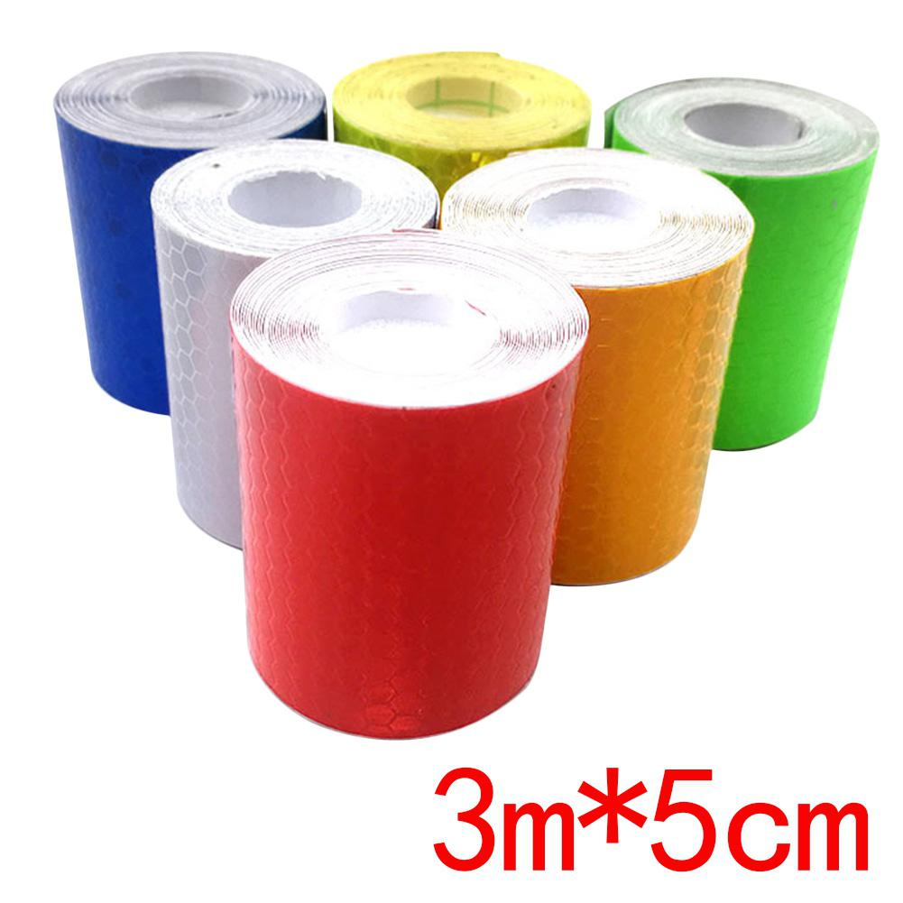3m*5cm Car Reflective Strips Auto Reflective Sticker Car Safety Warning Mark Tapes Reflection Tape Film Car Exterior Accessories