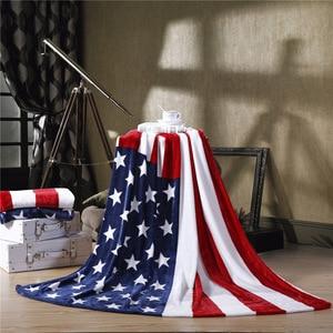 Image 1 - 2020 العلم البريطاني/العلم الأمريكي متعددة الوظائف البطانيات لينة الصوف رقيقة منقوشة طباعة أريكة هوائية رمي بطانية شحن مجاني