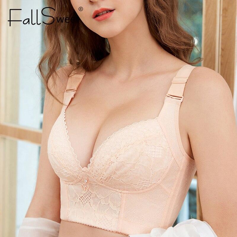 Женские кружевные бюстгальтеры FallSweet, Бюстгальтеры без косточек, сексуальное нижнее белье размера плюс