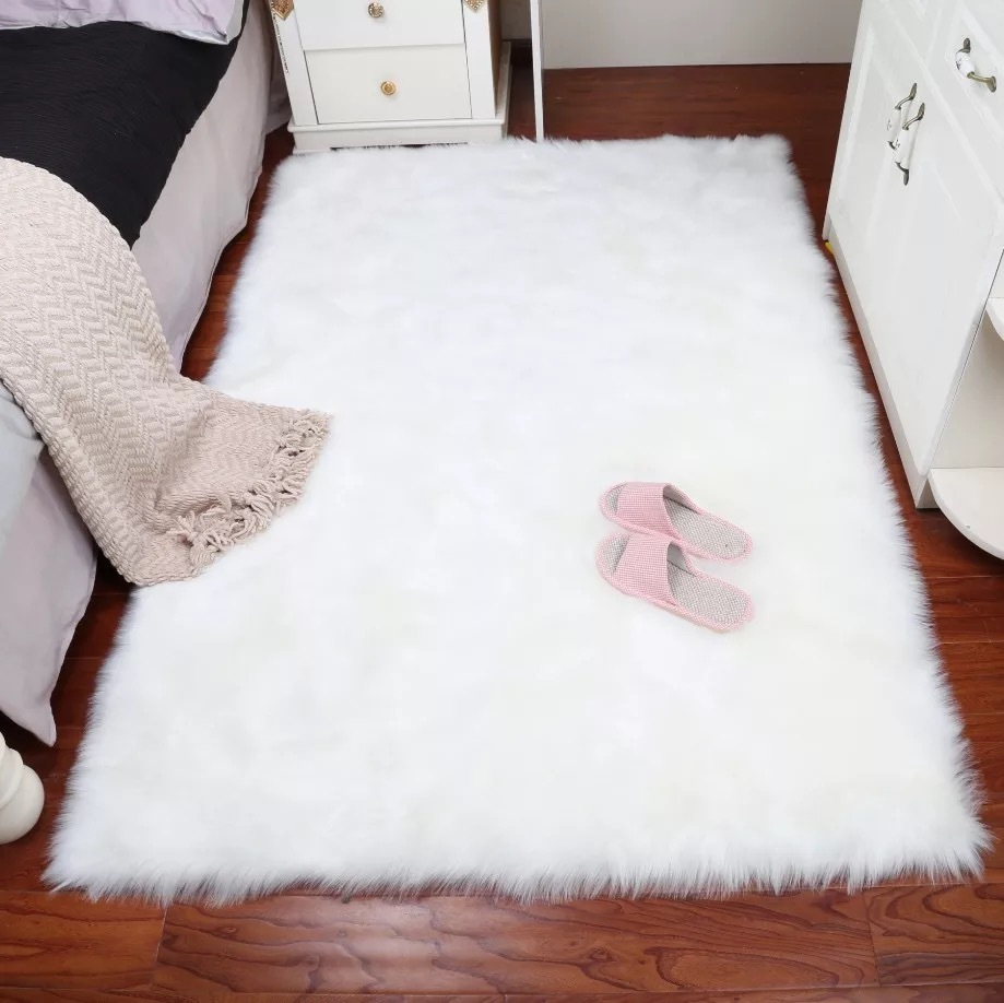 Faux Fur Large Area Rug for Bedroom Living Room Decorative Fluffy Carpet Red/pink/blue White Hairy Rugs Bedside Floor Carpets image