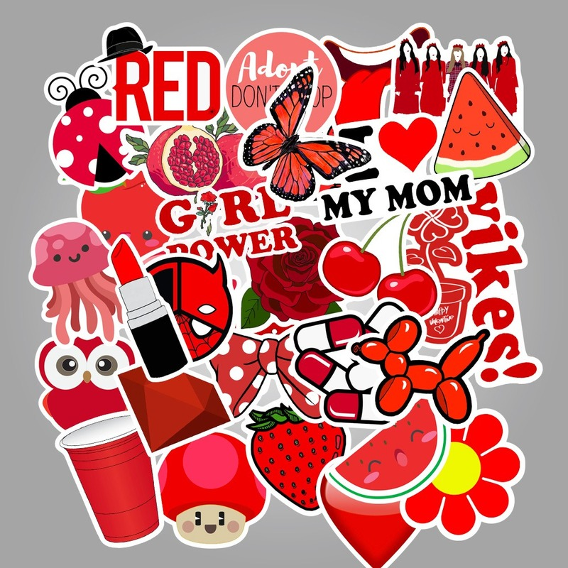50pcs Red Vsco Girl Small Fresh Stickers Suitcase Trolley Case Laptop Graffiti Sticker Waterproof Sticker
