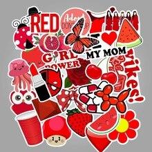 50pcs Red Vsco Girl Small Fresh Stickers Suitcase Trolley Case Laptop Graffiti Sticker Waterproof