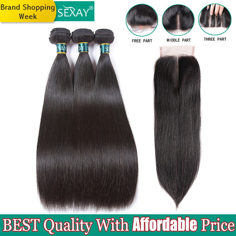 Brazilian Straight Hair Bundles With Closure SEXAY Non Remy Hair Weft Weave 100% Human Hair Extensions 3 Bundles With Closure