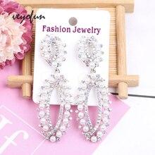 цена на Veyofun Hollow out Pearl Rhinestone Dangle Earrings for Women Vintage Drop Earrings Fashion Jewelry Gift