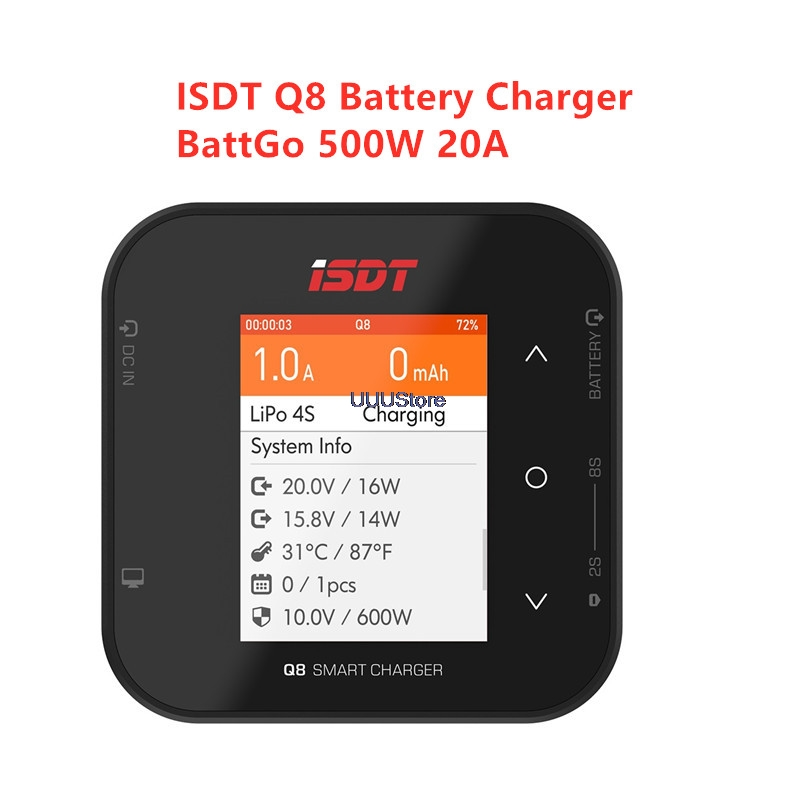 ISDT Q8 BattGo 500W 20A High Power Battery Balance Charger Discharger For 1-8S Lipo Battery For RC FPV Drone