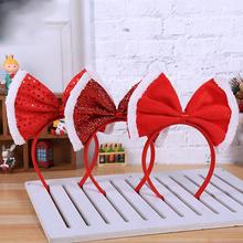 Boże narodzenie opaski na głowę kokardka księżniczka z pałąkiem na głowę dla dzieci ozdoby na głowę dla dorosłych ozdoby świąteczne Party Cosplay prezenty bożonarodzeniowe tanie tanio CN (pochodzenie) Christmas Headband Home Kids Xmas Gifts Girl Santa Xmas Hair Band Clasp Christmas Headbands