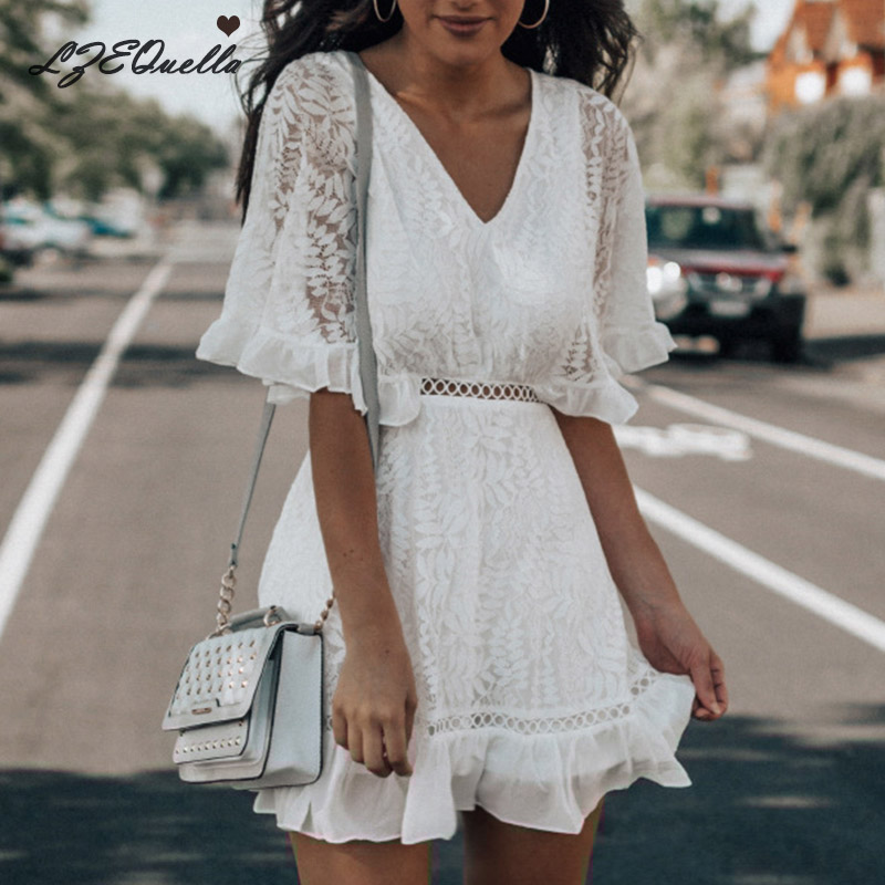 LZEQuella Women White Hollow Out V Neck Dress Summer Embroidered Mid Sleeve Sexy Split Back Mini Party Dress Ladies Clothing