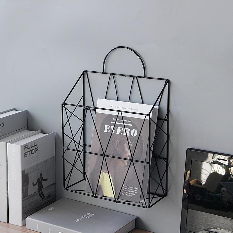 Nordic Style Newspaper And Magazine Racks Metal Iron Wall Hanging  Holder Book Shelf Storage Organizer DIY Home Decoration