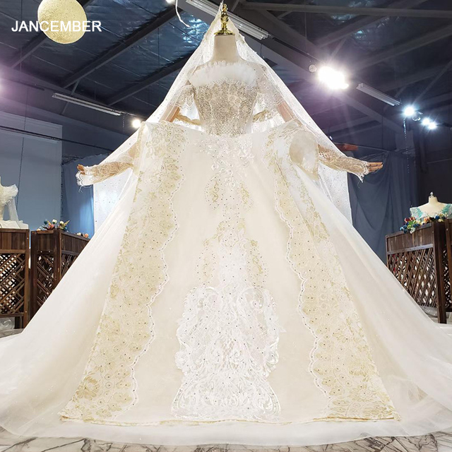 HTL1827 Extravagant Boat Neck Crystal Sequined Beading Wedding Dress 2020 Short Sleeve Applique Ball Gowns 1