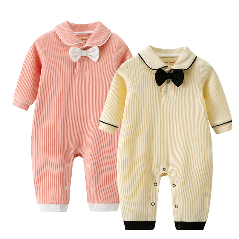 Baby Rompers Long Sleeve Newborn Boys Jumpsuits Clothes Fashion Bowknot Toddler Kids Overalls One Piece Infantil Playsuits 0-24M