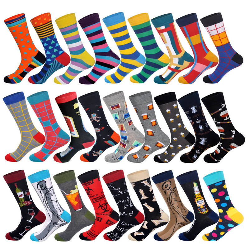 Lionzone Casual Men Socks Cotton Personality Design Beer Popcorn Coffee Drinks Chess Compression Socks  Gifts For Men