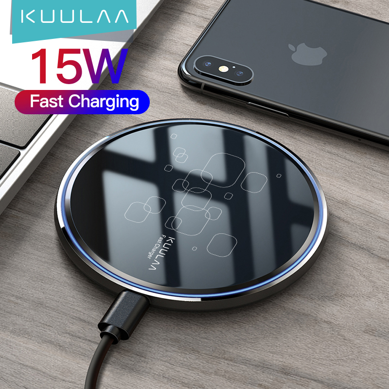 KUULAA 15W Qi Wireless Charger For Xiaomi Mi 9 Pro Mirror Wireless Charging Pad Fast Charger