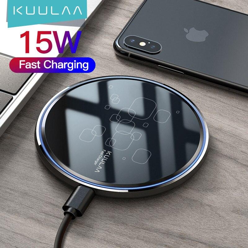 KUULAA 15W Qi Wireless Charger For Xiaomi Mi 9 Pro Mirror Wireless Charging Pad Fast Charger For iPhone 11 X XS Max XR 8 Plus