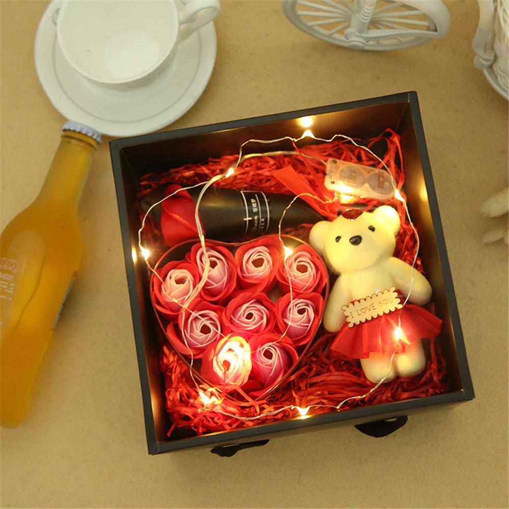 Lighted Rose Soap Bear With Gift Box Gift For Christmas Valentine's Day