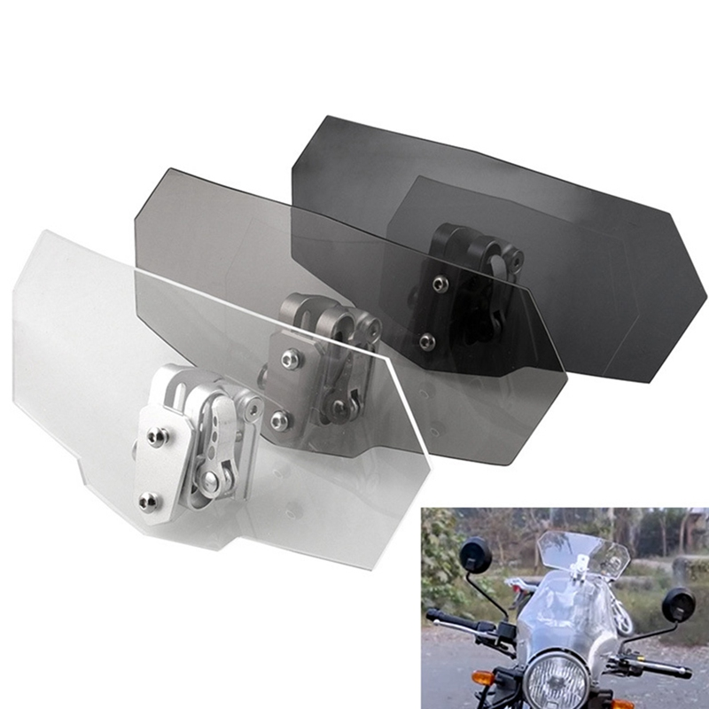 Adjustable Clip On Windshield Extension Spoiler Wind Deflector Motorcycle