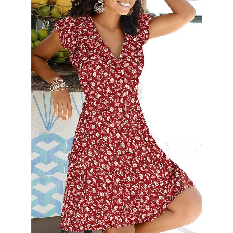 New Summer V Neck Floral Print Party Dress Women Vintage Sleeveless Tank Mini Dress Spring Loose Plus Size A-Line Dress 2021 10