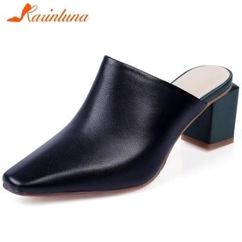 Karinluna 2020 Hot Sale Genuine Leather Slip On Summer Shoes Woman Pumps Mules Chunky High Heels Retro Pumps Women Shoes
