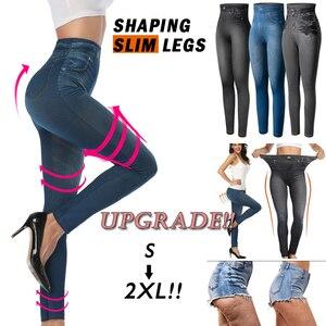 Image 1 - נשים Slim אופנה חותלות פו ג ינס ג ינס אישה כושר מכנסיים Jeggings חותלות הדפסה מזדמן מכנסי עיפרון בתוספת גודל