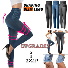 Vrouwen Slim Fashion Leggings Faux Denim Jeans Vrouw Fitness Broek Jeggings Leggings Afdrukken Toevallige Potlood Broek Plus Size