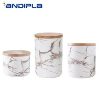 Nordic Marble Texture Ceramic Wooden Cover Storage Jar Food Preservation Canister Tea Caddy Kitchen Food Organizer Sealed Jars