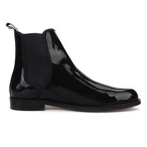Image 4 - Pierguitar bottes en cuir verni noir pour hommes, classique britannique, Chelsea, style hiver, fait à la main, grande taille, 2019
