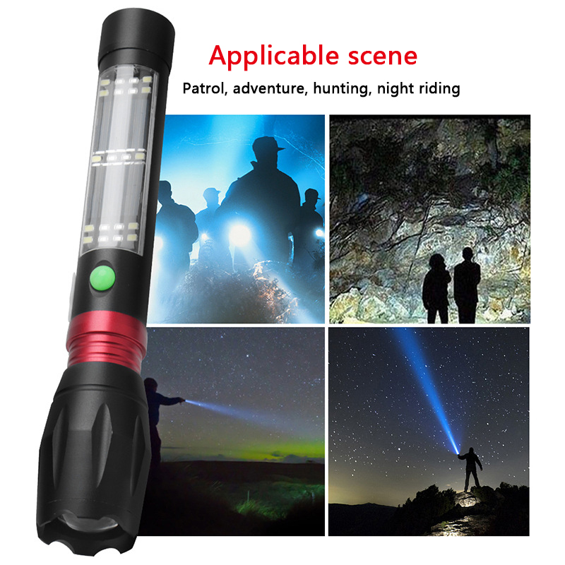 Solar Eegergy Charging Led Flashlight Built in 18650 Battery XM-L T6 Torch Lantern for Camping Zoom Aluminum 7 Modes Waterproof