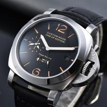 44mm Automatic Mechanical Watch Men Power Reserve GMT Leathe