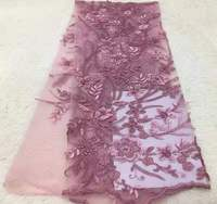 Latest Embroidery Pink 3d Flower French Lace Apliques Bridal Lace Rosette African Wedding Tulle Fabric