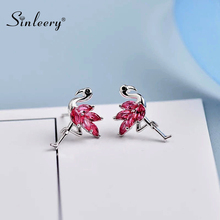 SINLEERY Cute Cubic Zirconia Flamingo Stud Earring Silver Color Animal Jewelry For Women Wedding Small Earring ES258 SSI